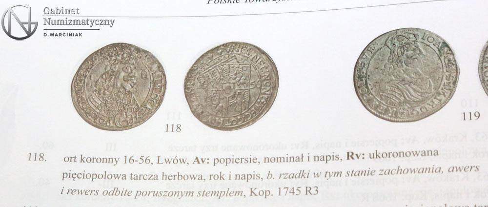 Pozycja 118 z 31 aukcji PTN ort lwowski 1656 Jana Kazimierza
