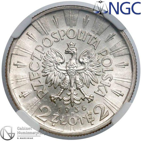 Oryginał 2 złote 1936 Piłsudski - awers