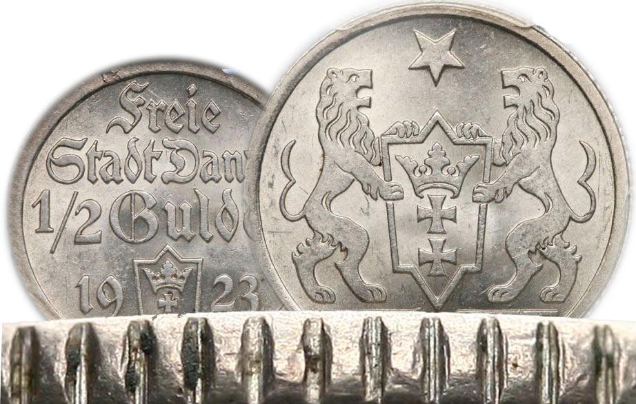 Oryginalność 1/2 i 1 gulden 1923 Gdańsk