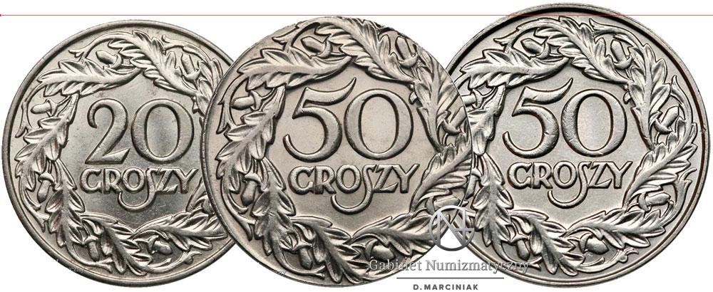 Porównanie destruktu 50 groszy 1923 z oryginalnymi 20 i 50 groszy 1923