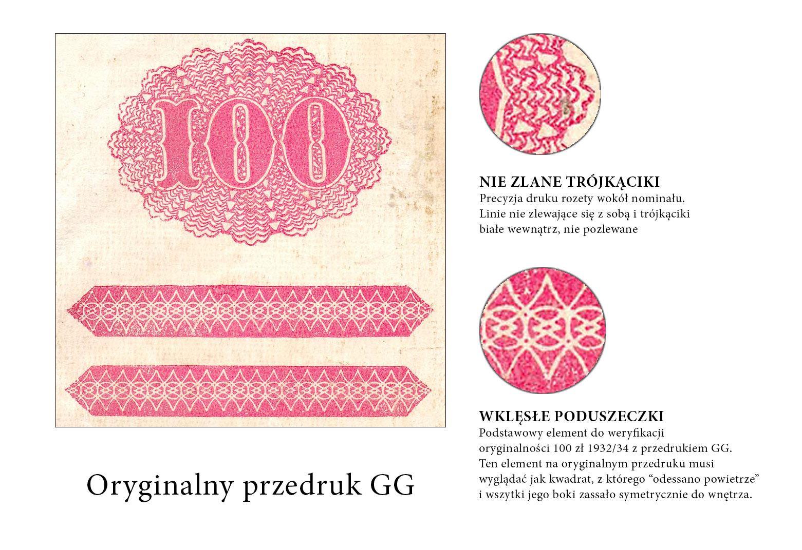 Oryginalny przedruk okupacyjny na banknocie 100 złotych 1932/34