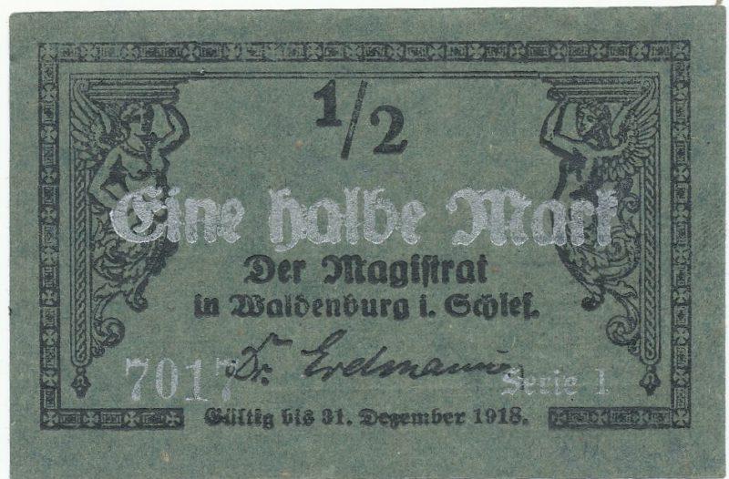 Notgeld pół marki 1918 Waldenburg