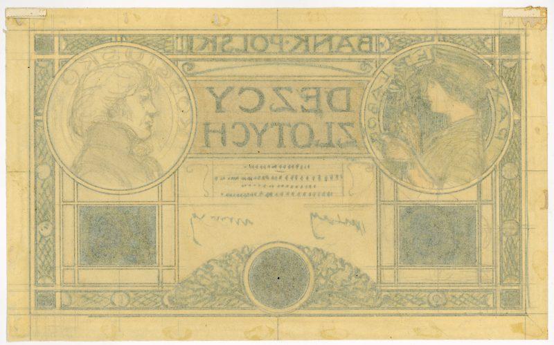 Awers projektu 10 złotych 1919 strona 2
