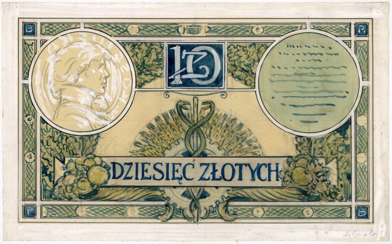 Rewers projektu 10 złotych 1919 strona 1
