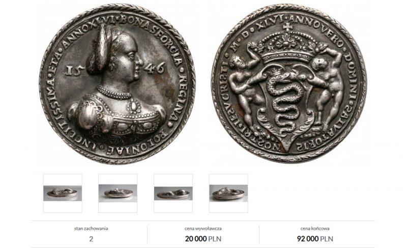 Renesansowy medal Bona Sforza 1546