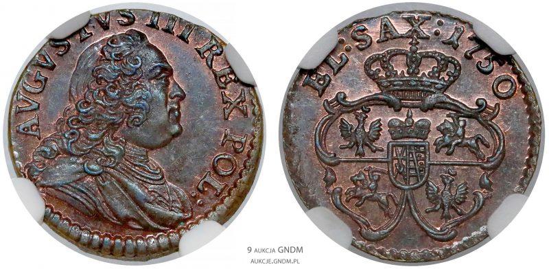 Szeląg drezdeński 1750 August III Sas