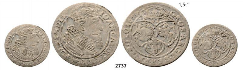 Szóstak 1657 Jana Kazimierza z popiersiem Zygmunta III Wazy