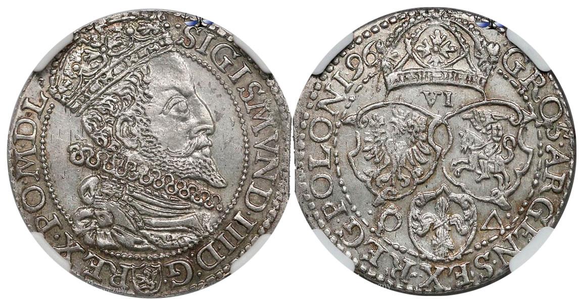 Szóstak Malbork 1596 z dużą głową króla