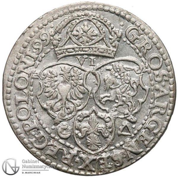 Rewers Szóstak Malbork 1599 z dużą głową króla