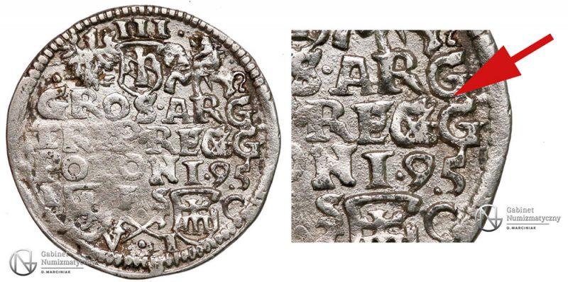 Trojak Bydgoszcz 1595 Zygmunt III Waza z jednym skreślonym G w REGG