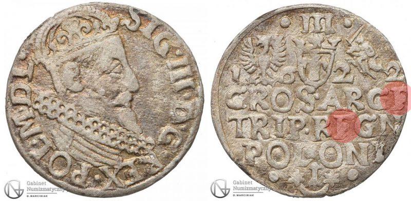 Trojak Kraków 1622 z literą F w REGN