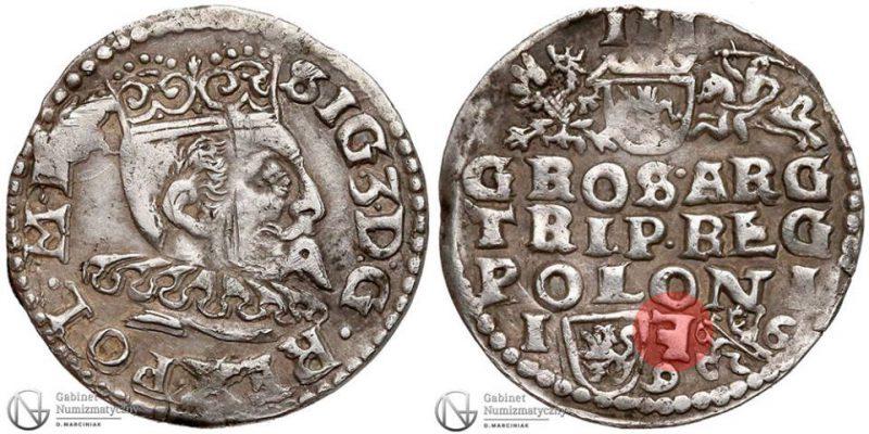 Trojak Lublin 1596 Zygmunt III Waza z odwróconą literą F