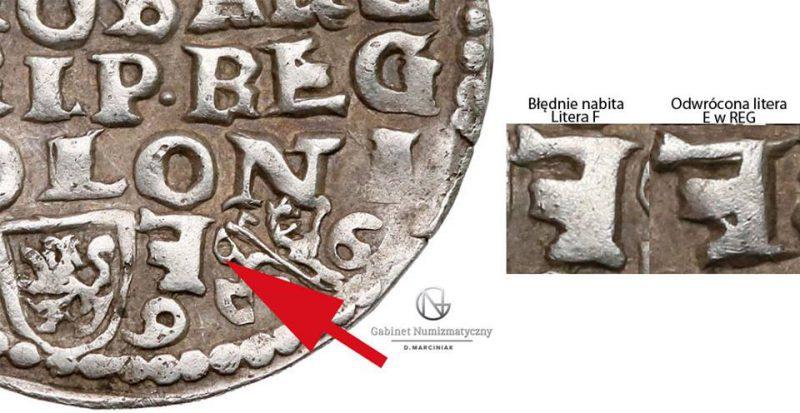 Zbliżenie na Trojaka Lublin 1596 Zygmunt III Waza z odwróconą literą F