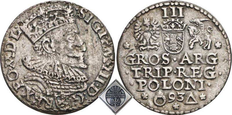 Trojak Malbork 1593 z błędem w S imieniu króla