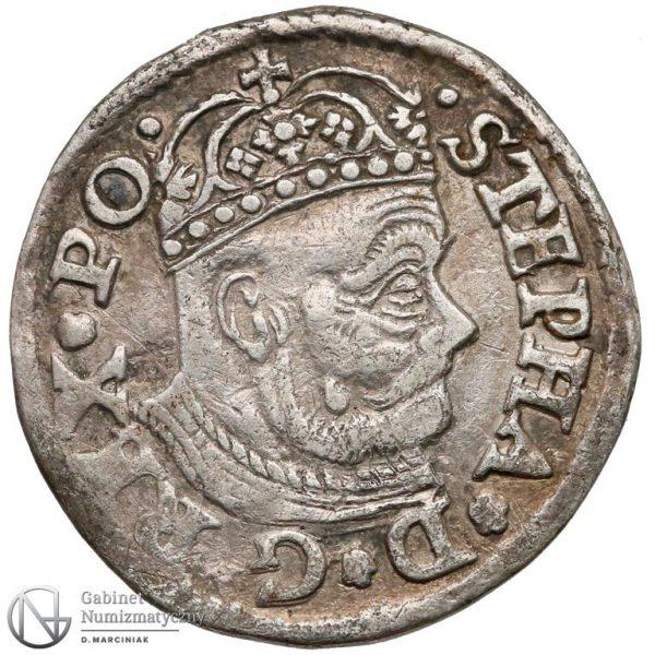 Awers Trojaka Olkusz 1580 Stefana Batorego bez nominału i z herbem rozdzielającym datę