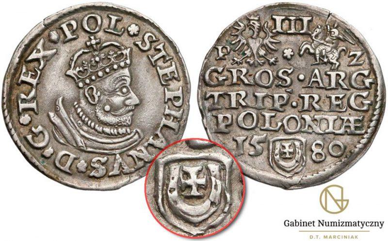 Trojak Olkusz 1580 Stefana Batorego z herbem Jastrzębiec