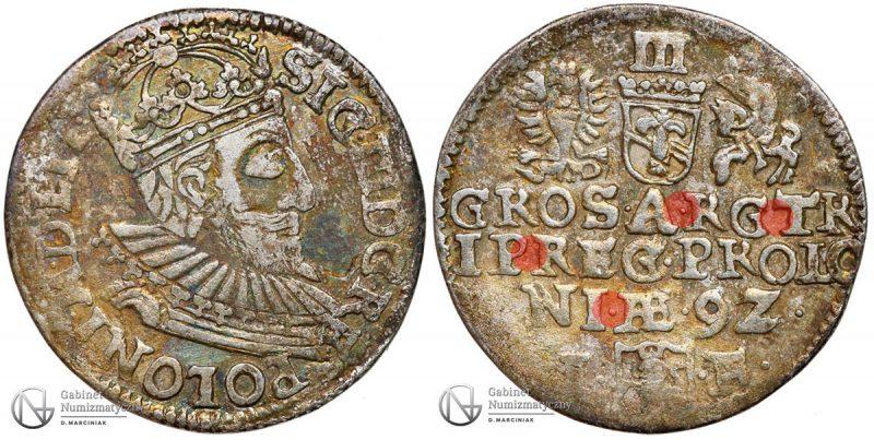 Wyjątkowo niedbale przygotowany rewers Trojaka Olkusz 1592