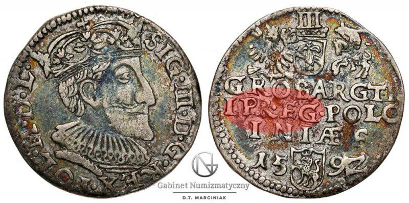 Trojak Olkusz 1592 Zygmunt III Waza z błędem TRIPR • EG