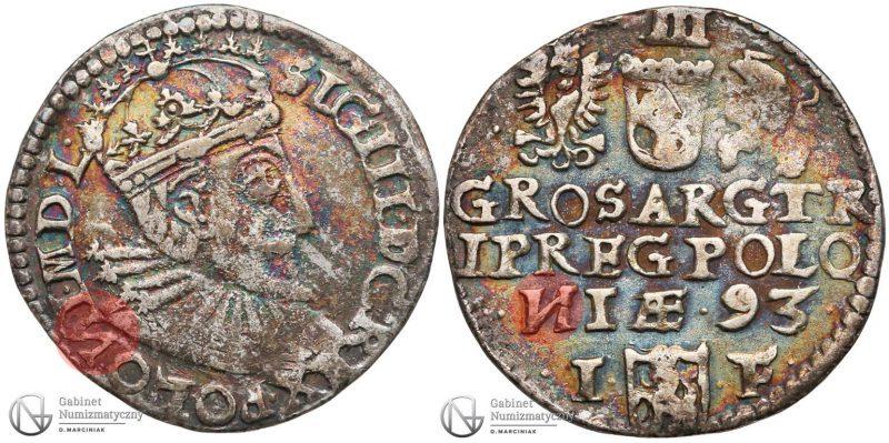 Trojak Olkusz 1593 Zygmunt III Waza z odwróconymi N