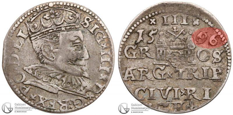 Trojak Ryga 1596 z błędem w dacie