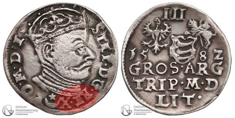 Trojak Wilno 1582 Stefan Batory z błędem RE • X