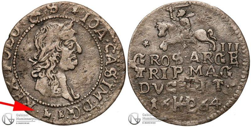 Trojak Wilno 1664 Jan Kazimierz z błędem RRRR