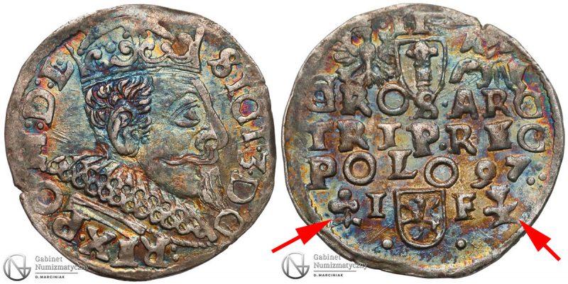 Trojak Wschowa 1597 Zygmunt III Waza z pomylonymi znakami mincerskimi