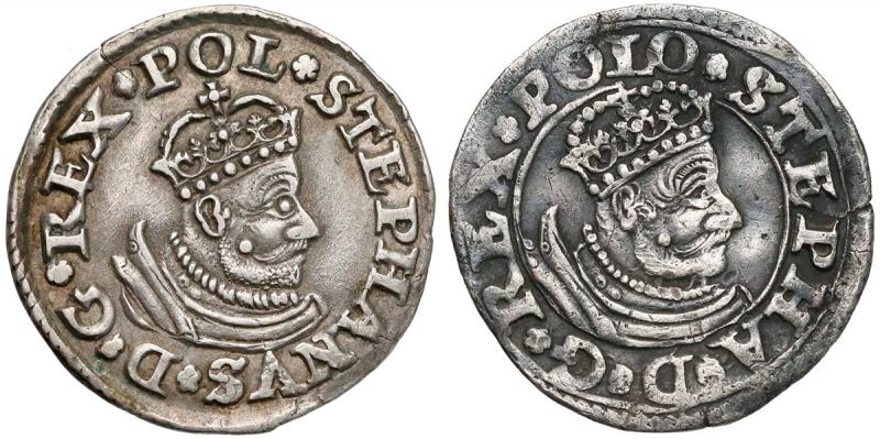 Trojak Olkusz z małym popiersiem z obwódką i bez obwódki