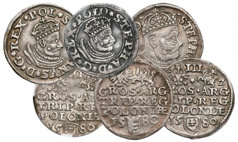 Awersy i rewersy trojaków Olkusz 1580 Stefana Batorego