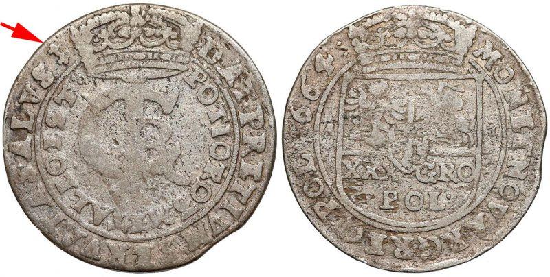 Tymf 1664 ze znakiem w kształcie herbu Pilawa
