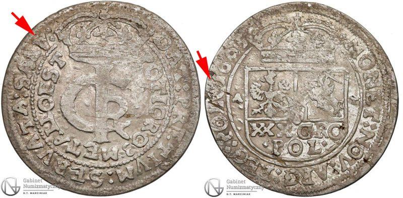 Tymf 1665 odmiana legendowa z SALV na awersie i POLO na rewersie