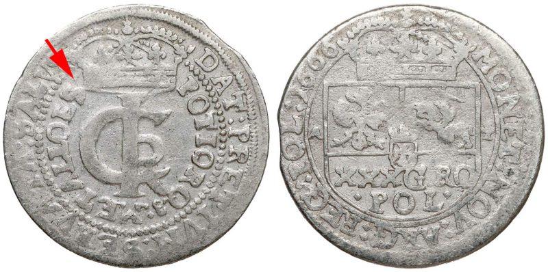 Tymf 1666 odmiana legendowa z ES na awersie