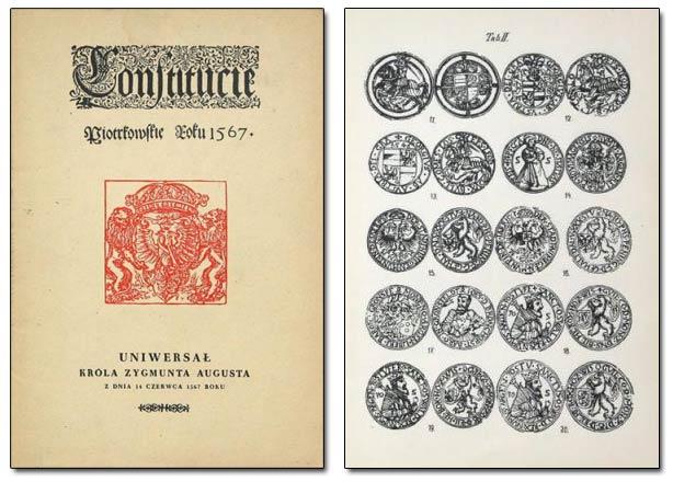 Okładka i przykładowa strona reedycji Uniwersału Zygmunta Augusta 1567