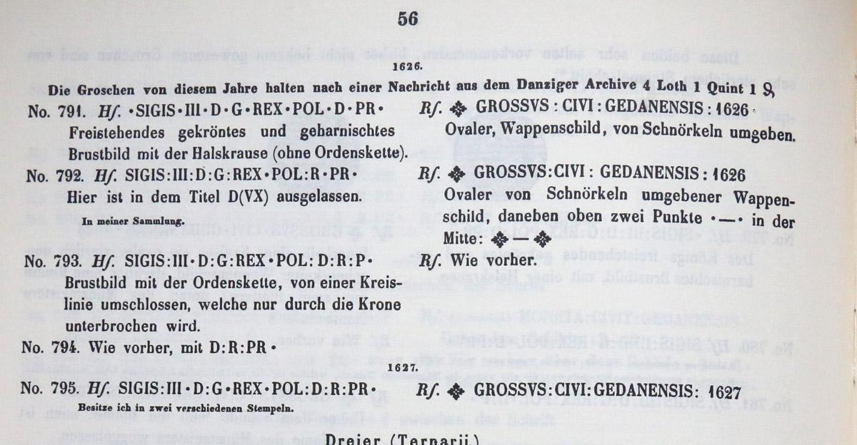 Fragment katalogu Vossberg o groszach gdańskich