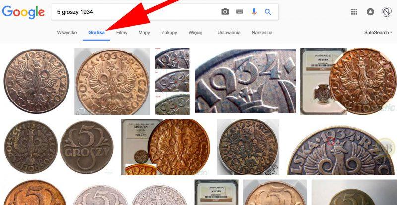 Wyszukiwanie monet w Google Grafika